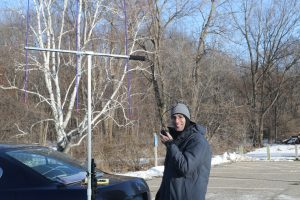 Bill, AE0EE, operates 2 m FM on a wintry day.